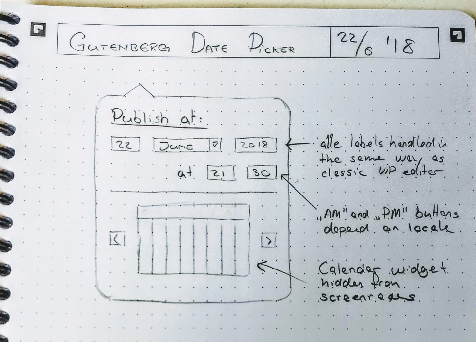 A photograph of a hand-drawn UI wireframe for a date picker