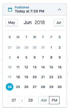 Screenshot showing the date picker