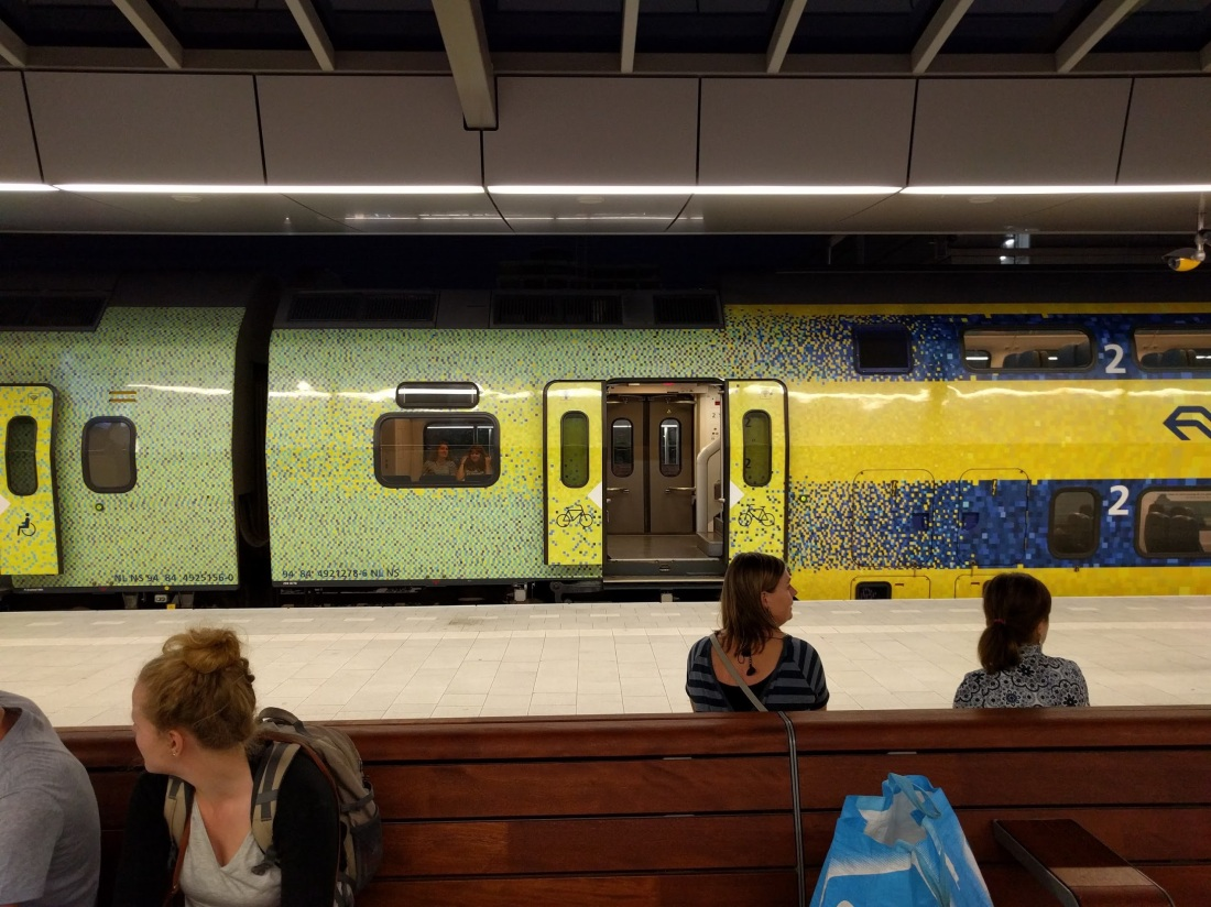 Dutch train with pixel art decals