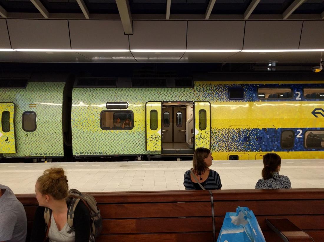 Dutch train with pixel art decals
